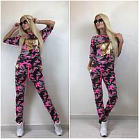 """Женский стильный костюм-двойка с пайетками """"Звезда"""": футболка и брюки (2 цвета)+ (Большие размеры)"""