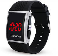 Мужские LED часы на силиконовом ремешке Черные mw12