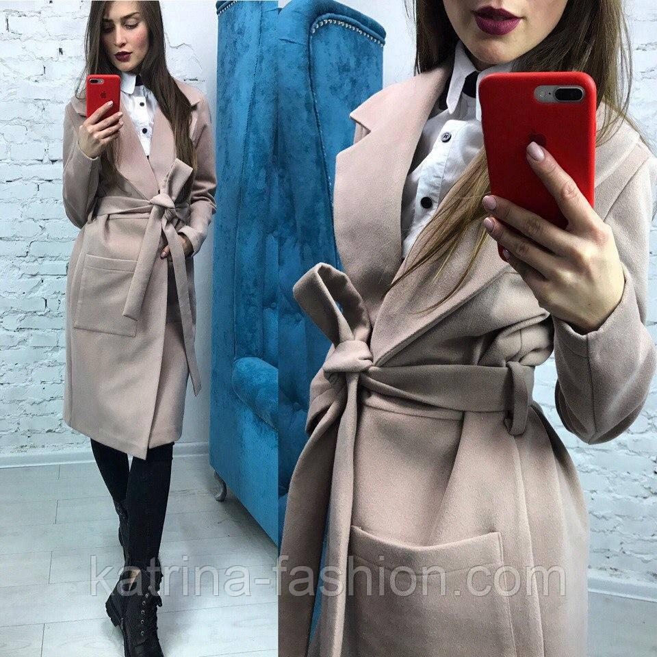 Очень красивое женское демисезонное удлиненное пальто с пояом (3 цвета)