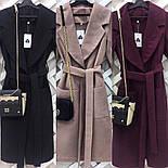 Очень красивое женское демисезонное удлиненное пальто с пояом (3 цвета), фото 2