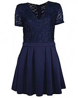 21798 Платье синее с кружевами MelaLovesLondon