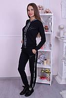 Стильный женский костюм  на змейке с капюшоном
