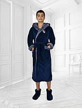 Халат махровый с двойным капюшоном Подросток (синий+сер.)