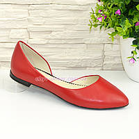Балетки кожаные женские с заостренным носком, красного цвета