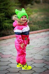 Комбинезон детский теплый плащевка на синтепоне 200 и флис Принт Полоски на 1 год