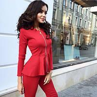 Женский костюм: блуза с баской и лосины/леггинсы