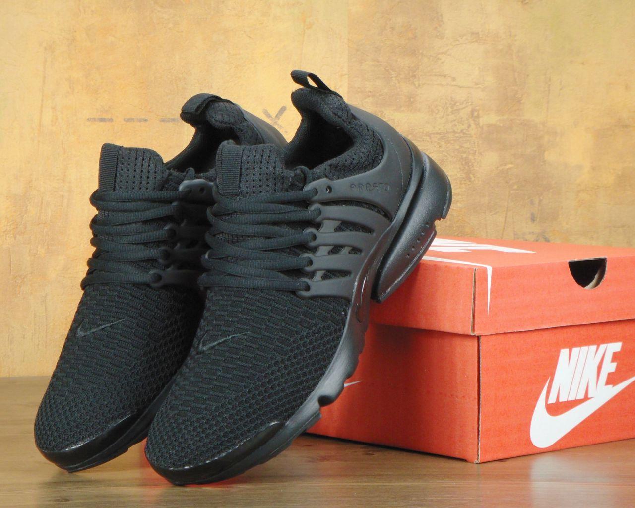Кроссовки Nike Nike Air Presto Flyknit Triple Black. Живое фото. Топ качество! (Реплика ААА+)