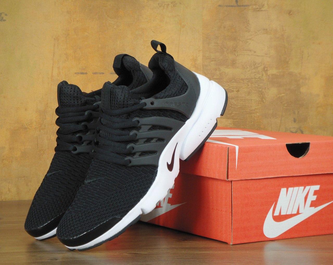 Кроссовки Nike Air Presto Flyknit Black/White. Живое фото. Топ качество! (Реплика ААА+)