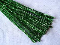 Синельная Проволока Зеленая блестящая 30 см 6 грн/10 шт