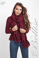 Теплый вязаный женский комплект из джемпера и шарфа