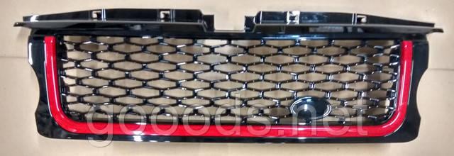 Черная решетка с черной сеткой и красной окантовкой