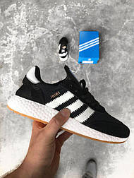 Кроссовки Adidas Iniki Runner Boost Black White. Живое фото. Топ качество! (Реплика ААА+)