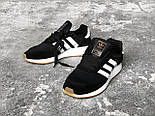 Кроссовки Adidas Iniki Runner Boost Black White. Живое фото. Топ качество! (Реплика ААА+), фото 4