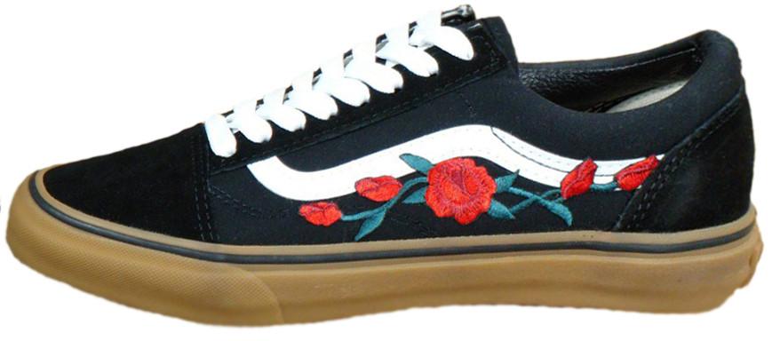 Женские кеды Vans Old School Roses Black/White/Brown