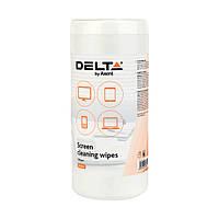 Салфетки по уходу за экранами, влажные, 100 шт/уп, Delta by Axent, D5302, 32967