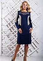 Женское платье прямое с симметричными рельефами 2322 цвет синий размер 50-56 / большие размеры