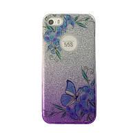 Чехол силиконовый Mask Collection Бабочка синяя в серебре для iPhone 5
