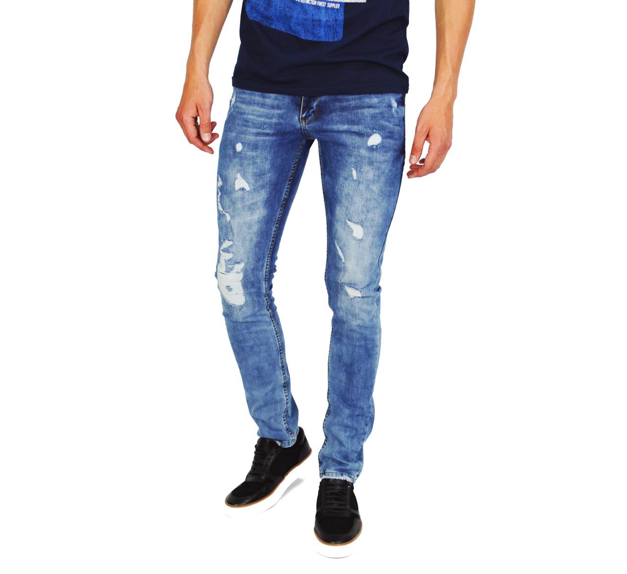 212b935c460 Голубые рваные мужские джинсы зауженные BOTTECA VENETA  продажа ...