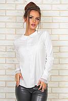 """Нарядная женская блуза софт """"Unique"""" с кружевом и длинным рукавом (2 цвета)"""