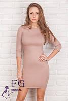 Элегантное платье ниже колена капучино 074, фото 1
