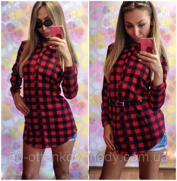 Женское стильное платье-рубашка в клеточку (2 цвета)  продажа b96f5f583c378
