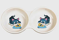 Trixie - миска двойная керамическая  для кошек  0.15 л