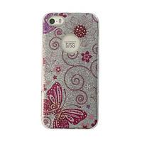 Чехол силиконовый Mask Collection Бабочка розовая в серебре для iPhone 5s