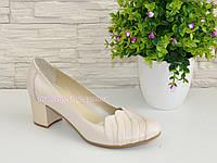 Туфли бежевые женские кожаные на невысоком каблуке., фото 1