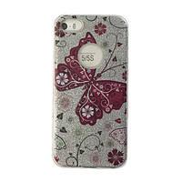 Чехол силиконовый Mask Collection Бабочка красная в серебре для iPhone 5s