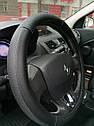 Оплетка на руль натуральная кожа, черная., фото 4