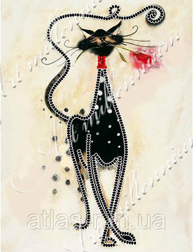 """А5 """"Котик с розой"""" схема для частичной вышивки бисером"""