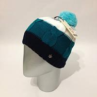 Женская стильная шапка с бубоном крупной вязки (расцветки)