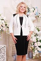 Черно-белое женское платье большого размера АГРА  ТМ Lenida 52-62 размеры