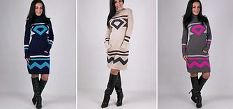 Теплые вязаные платья- Диамант