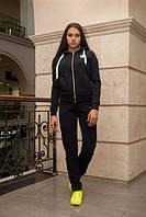 Женский черный спортивный костюм на флисе