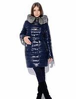 Шикарный зимний женский пуховик (куртка/пальто) украшенн натуральным мехом в расцветках черный, 44