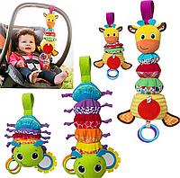 Музыкальная игрушка подвеска, погремушка, прорезыватель Жираф, большая