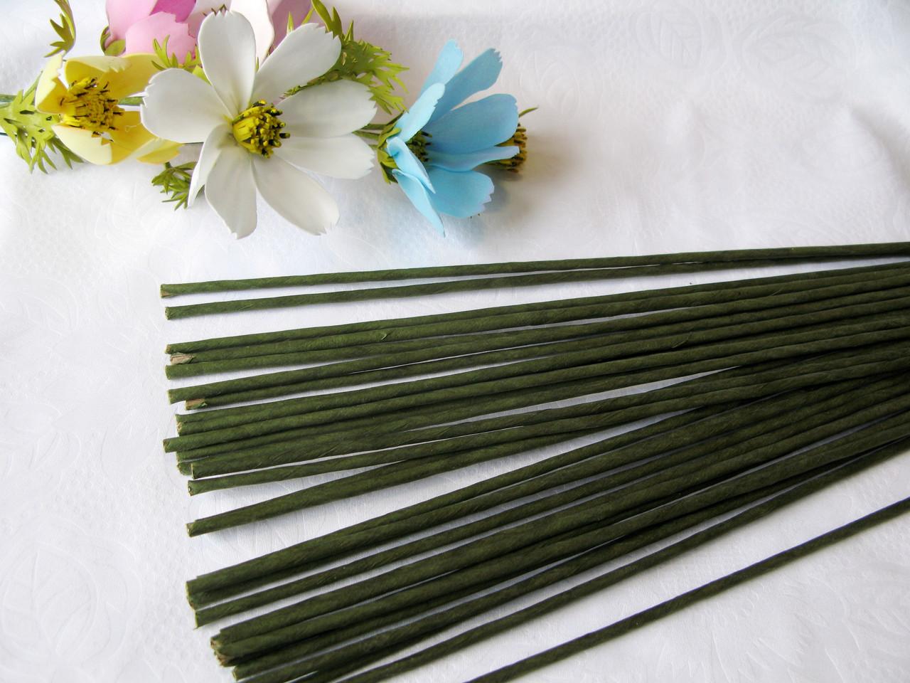 Проволока герберная (флористическая) в обмотке. 3,5 мм 40 см. 10 шт