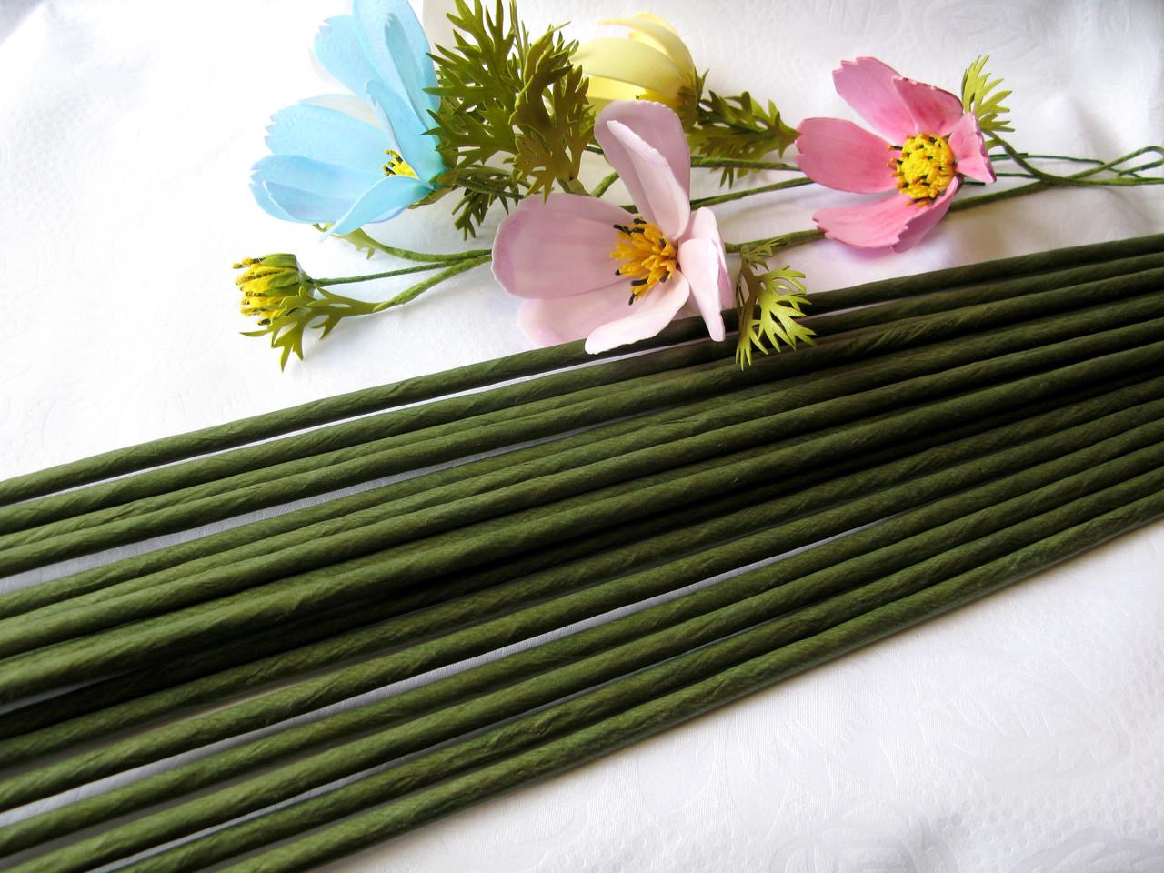 Проволока герберная (флористическая) в обмотке. 5 мм 60 см. 1 шт - 6 грн