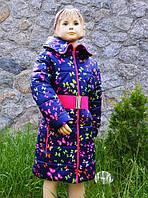 "Пальто ""Бабочки"" на весну-осень для девочки от 3 до 7 лет (размер 98-122) ТМ PoliN line Темно-синий"