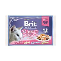АКЦИЯ!!! 3+1 в ПОДАРОК!! Brit Premium Dinner Plate Jelly Влажный корм Обеденная тарелка кусочки в желе