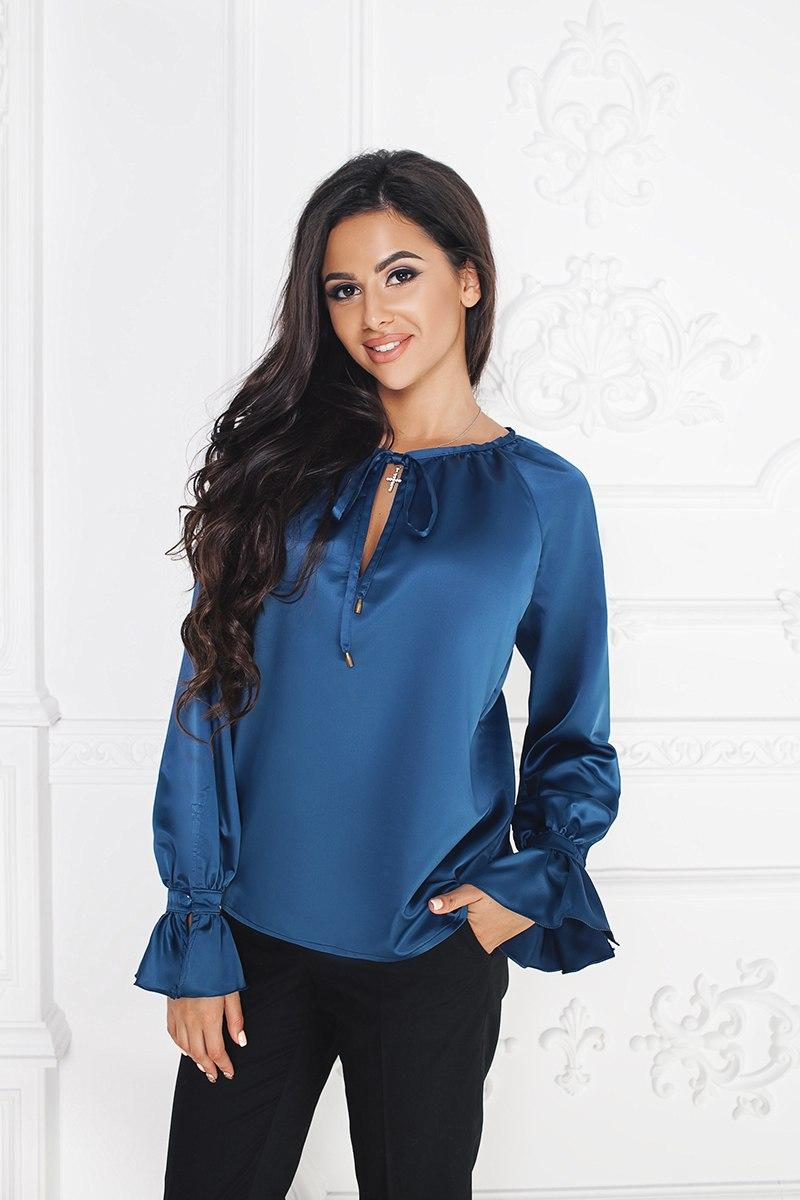 """Нарядная шелковая женская блуза """"Luisa с длинным рукавом"""