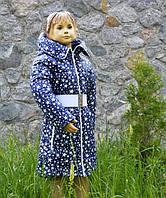 """Пальто """"Звезды"""" на весну-осень для девочки от 3 до 8 лет (размер 98-128) ТМ PoliN line Темно-синий"""