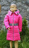 """Пальто """"Роза"""" на весну-осень для девочки от 3 до 8 лет (размер 98-128) ТМ PoliN line Малиновый"""
