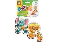 """Магнітні пазли """"Зоопарк"""" набір 2 шт. (слоник+лев), пазли для малюків,VT3208-01"""