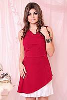 """Короткое нарядное платье А-силуэта """"Пенелопа"""" с гофрированной вставкой (2 цвета)"""