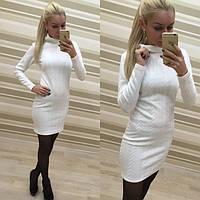 Женское красивое платье с воротником стойкой