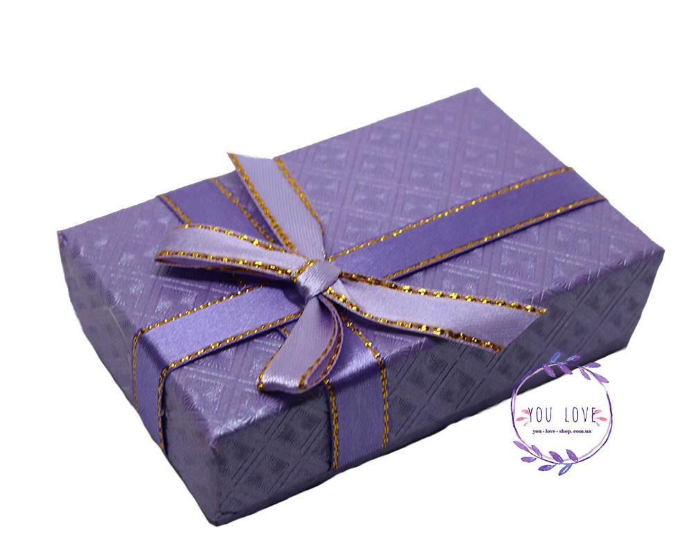 Коробочка подарочная для бижутерии Классическая Серая Сиреневая