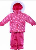 Детский зимний костюм на овчине-подстежке (от 6 до 18 месяцев) Розовый горошек