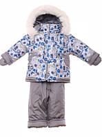 Детский зимний костюм на овчине-подстежке (от 6 до 18 месяцев) Серый снеговик